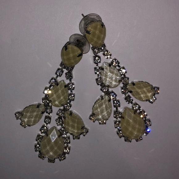 Jewelry: Faux Diamond/Cream Chandelier Earrings